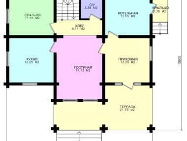 Планировка Современные дома из дерева Успех под усадку - купить +7 (495) 798-18-28