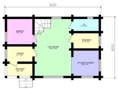 Планировка Дом Гест под усадку - купить +7 (495) 798-18-28