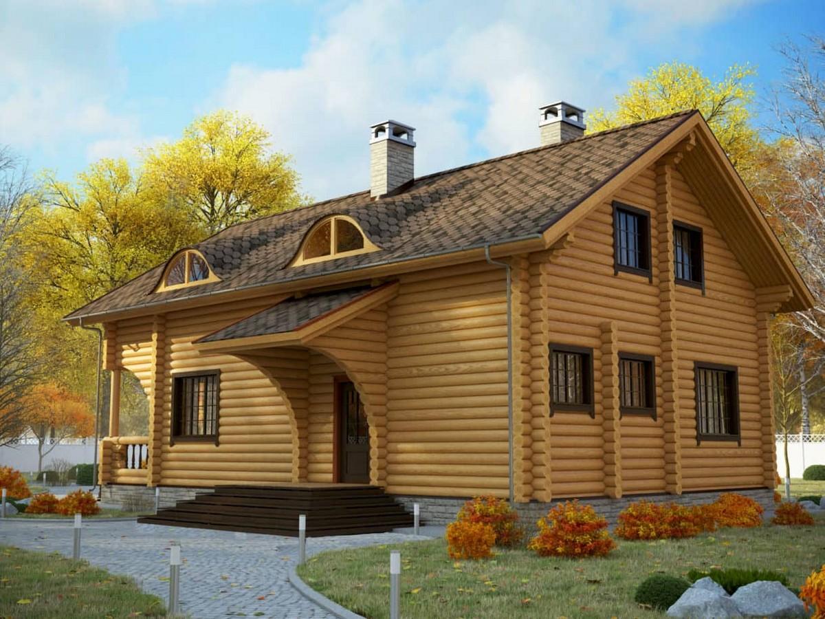 Дом Илья из бруса фронтально