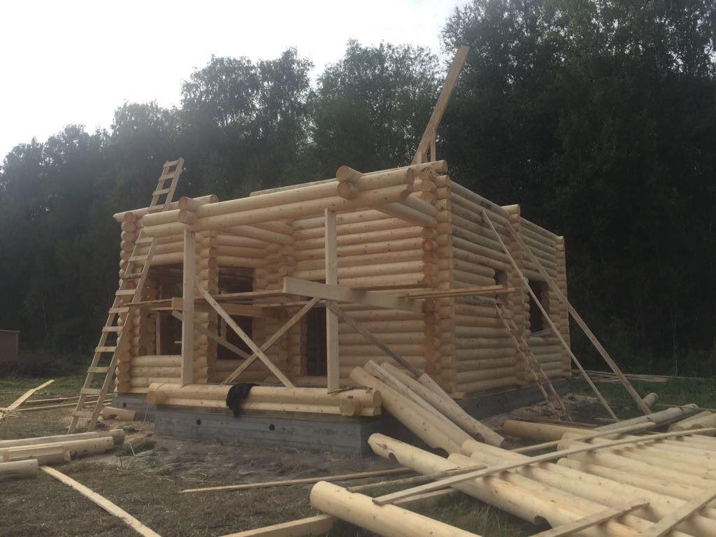 Строительство дома из оцилиндрованного бревна. Возведение второго этажа
