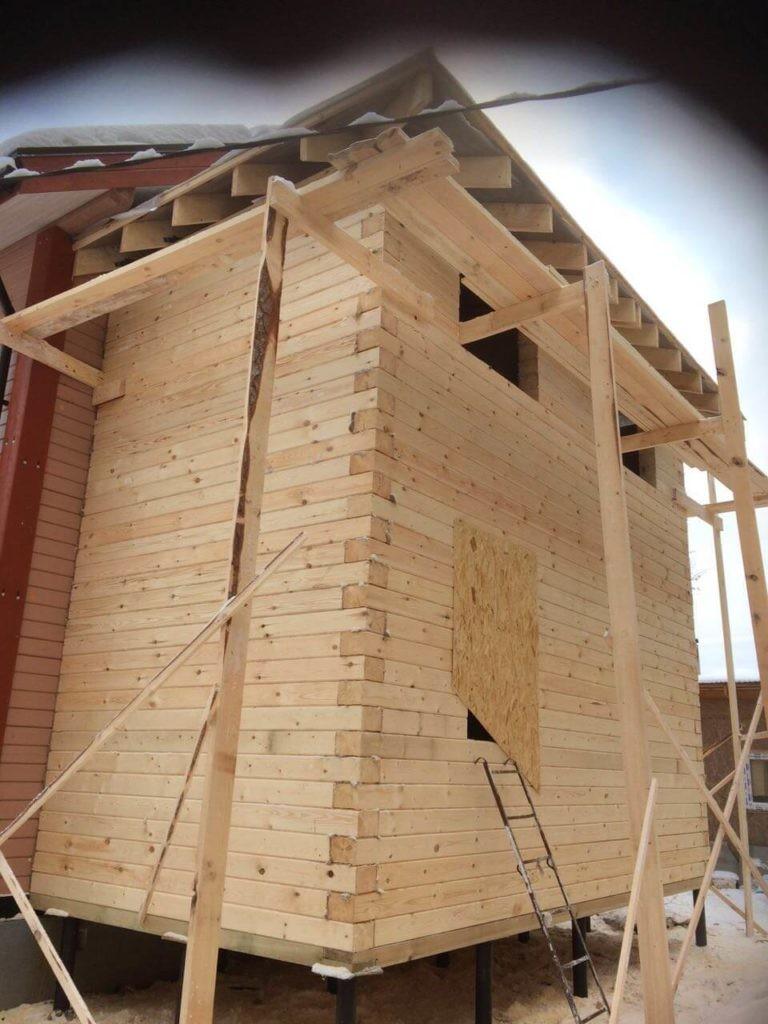 пристройка к деревянному дому из профилированного бруса