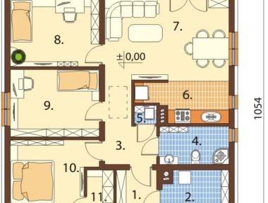 Планировка Дом Пятнистый под ключ - купить +7 (495) 798-18-28