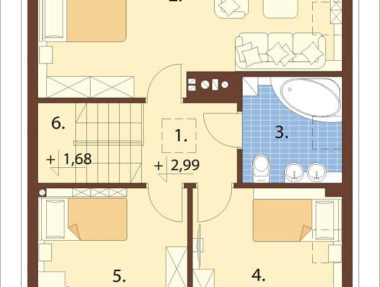 Планировка Одноэтажный дом с мансардой под ключ - купить +7 (495) 798-18-28